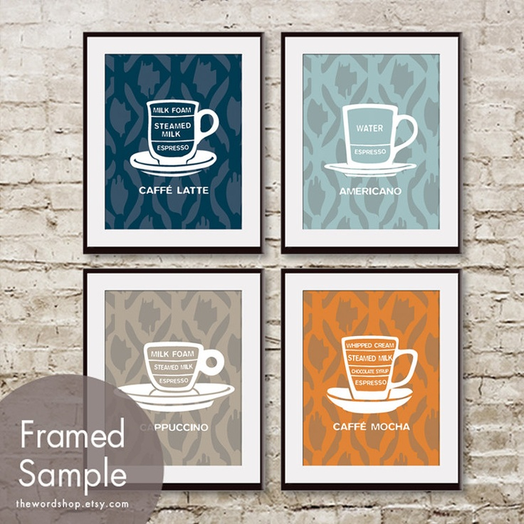 Barista Cafe Cup Series (Ikat) (Set of 4 - 11x14 Print) (Featured in Navy, Slate Blue, Truffle Brown and Terra Cotta). $47.85, via Etsy.