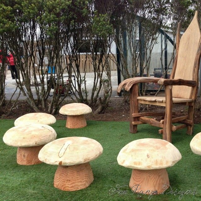 Free Range Designs storytelling chair and mushroom stools.
