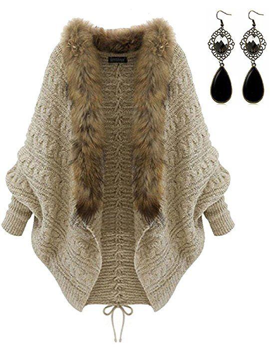 M-Queen Mujer Batwing Chaqueta de Punto de Invierno Suéter Cálido Abrigo con Cuello de Piel Cardigan Tops