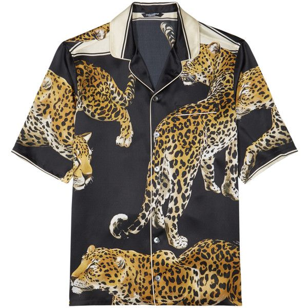 Dolce & Gabbana Leopard-print Silk Shirt - Size 16 ($1,075) ❤ liked on Polyvore featuring men's fashion, men's clothing, men's shirts, men's casual shirts, mens leopard print shirt, mens silk shirts, mens leopard shirt and dolce gabbana mens shirts