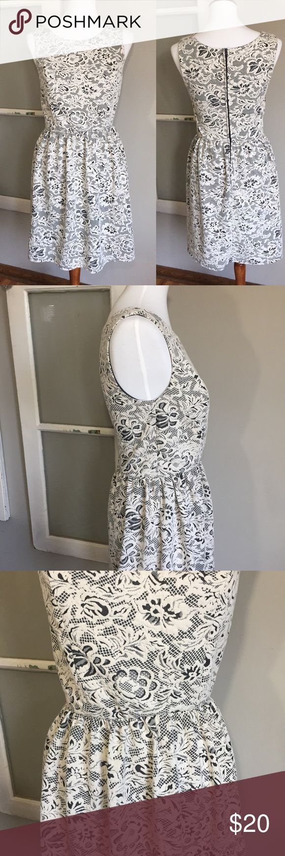 Studio Y Navy/cream spring dress! Adorable fun navy/cream dress! Navy with cream-lace overlay! Sleeveless. So cute! Perfect for summer festivities! Dress up with some heels or keep it casual with some flats! EUC Studio Y Dresses