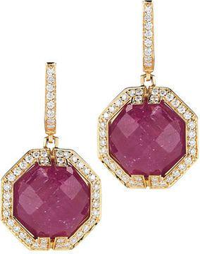 Patras Earrings 18kt Yellow Gold ruby