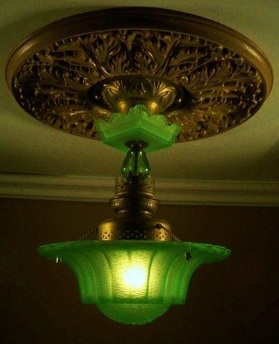 Super RARE Vaseline Glass 30's Art Deco Ceiling Light Fixture Chandelier