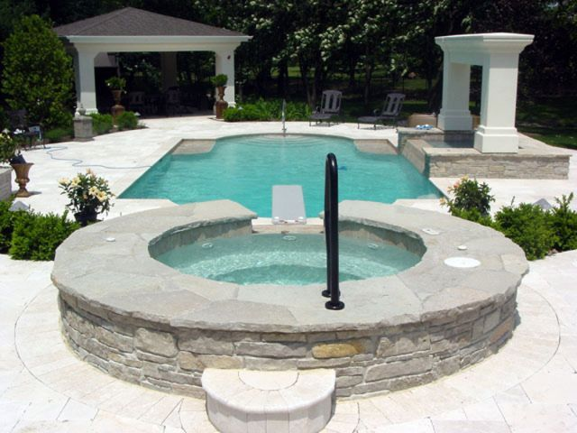 Classic pool design with spa and diving board dream for Classic pool designs