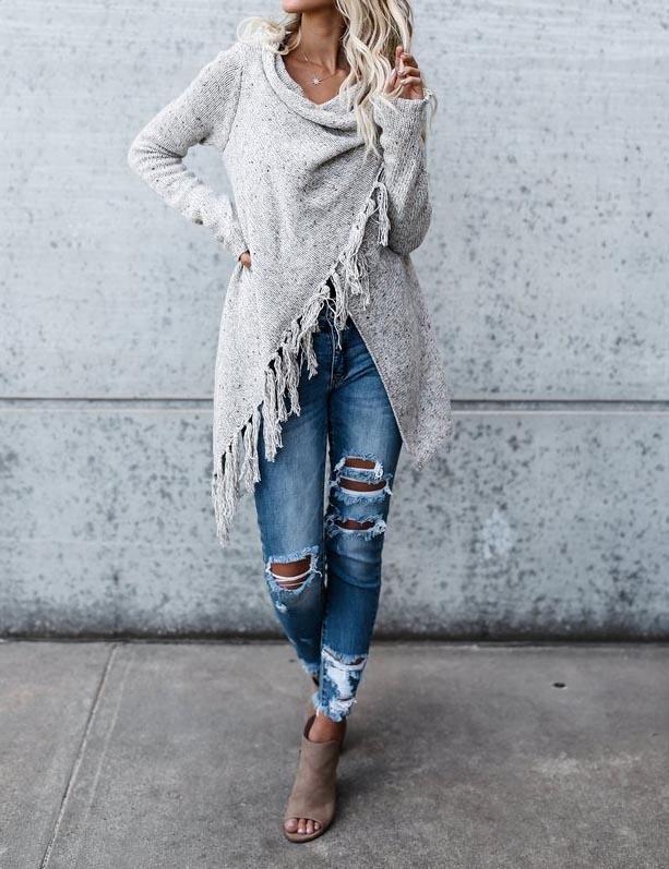 Chicnico 2017 Grey Tassel Asymmetrical Hem Shawl Speckled Fringe Cardigan