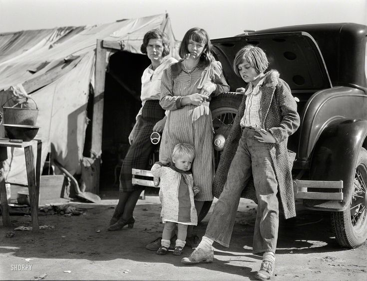 """Feb. 1936. """"Drought refugees in California."""" Dust Bowl ..."""