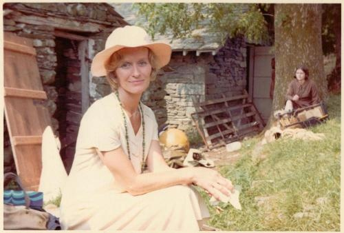 Virginia McKenna, playing Mrs Walker  at the boathouses of Bank Ground Farm, on Coniston Water in the Lake District whilst filming SWALLOWS & AMAZONS (1974)