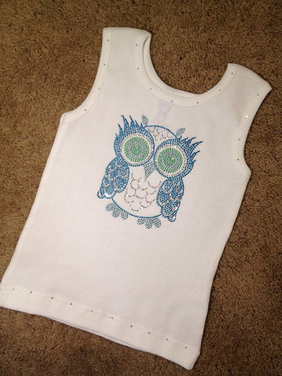 Blue OWL Kid Boutique Rhinestone Crystal Bling Embroidered tank, Birthday kid gift, Christmas idea, Baby Girl Toddler on Etsy, $16.95