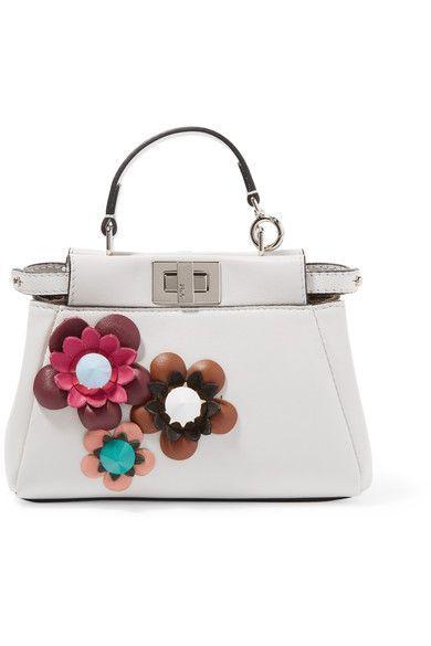 Fendi - Peekaboo Micro Appliquéd Leather Shoulder Bag - Off-white - one size