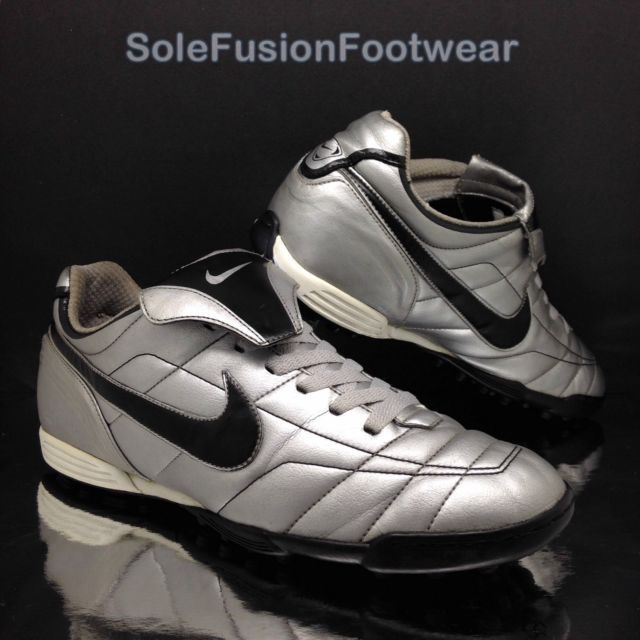Nike Mens TIEMPO Natural Football Trainers Silver/Black sz 10 Astro Turf Shoe 45 | eBay