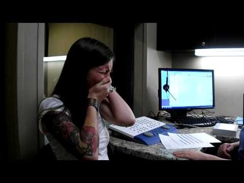 A deaf 29 year old woman hears the sound of her laugh for the very first time. Amazing!!
