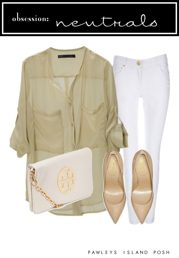 outfit: beige elbow-sleeved buttonup pocketed sheer blouse, white skinny-jeans, white / gold-chained shoulder-bag, gold pointy-toed flats
