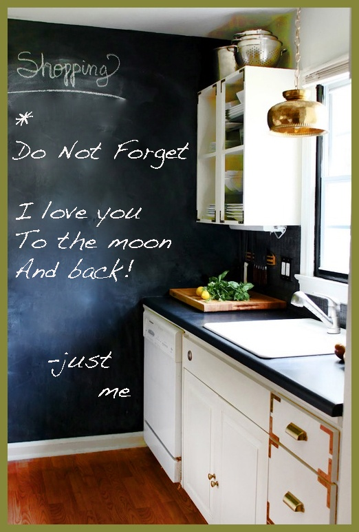 Kitchen Chalkboard Wall Grocery List Bright Comtemporary