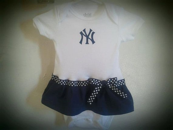 New York Yankees inspired baby girl outfit by killerkrafts on Etsy