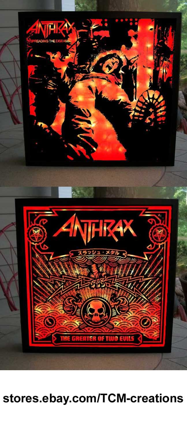 Anthrax shadow boxes with LED lighting.  Fistful Of Metal, Spreading The Disease, Among The Livin, State Of Euphoria, Persistence Of Time, Sound Of White Noise, Stomp 442, Volume 8: The Threat Is Real, We've Come For You All, Worship Music, For All Kings, Charlie Benante, Scott Ian, Dan Spitz, Joey Belladonna, Frank Bello, John Bush
