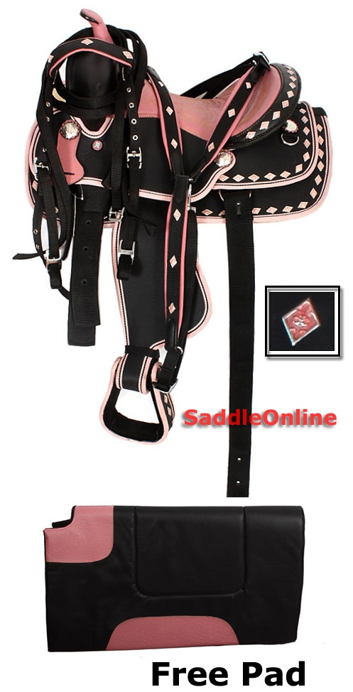 This is a beautiful premium horse synthetic saddle with pink conchos. The saddle is extremely lightweight (18 pounds). Because the saddle is waterproof it is a breeze to clean up, just wipe with a damp cloth. No need for going through messy and long processes of oiling your saddle just to keep it in good condition. The saddle comes complete with free pad, headstall, breast collar and reins. Model 2086. $225.00