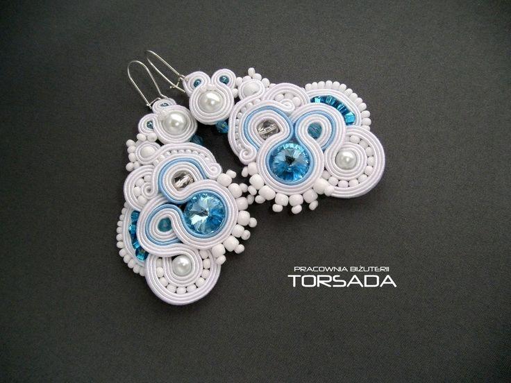 Długie duże kolczyki ślubne LUNA sutasz białe Swarovski  - TORSADA http://torsada.blogspot.com/