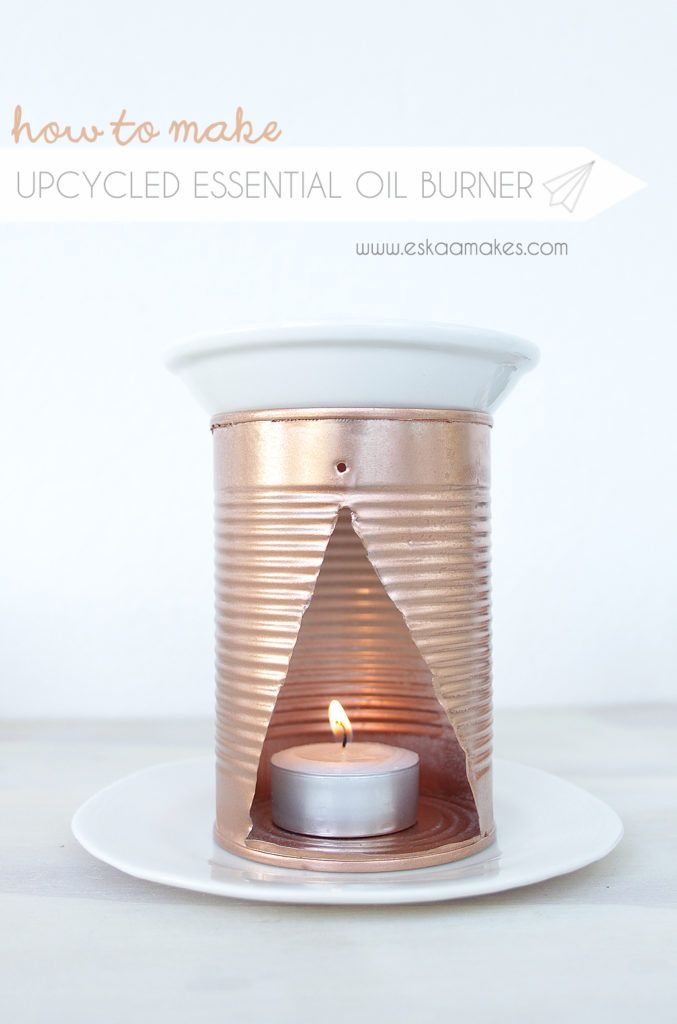 How to make - upcycled essential oil burner. From an old tin to this stylish upcycled essential oil burner. Get the free illustrated tutorial to make your own » [es.kaa.] makes