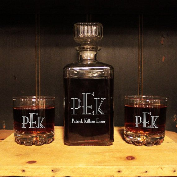 Man Cave Gifts Wholesale : Monogrammed wine decanter glass set engraved barware