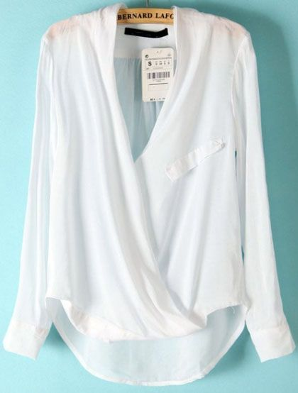 White Sheer Chiffon V Neck Wrap Drap Top Blouse @ ROMWE $20
