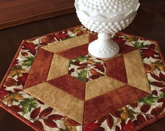 Fall table mat, quilted hexagon, candle mat, table runner, autumn table mat, Quiltsy handmade