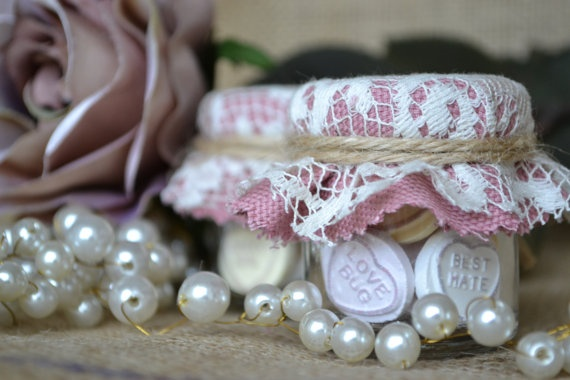 Mini Jar candy favour with dusty pink and vintage lace cover. Love heart rustic romance favour.