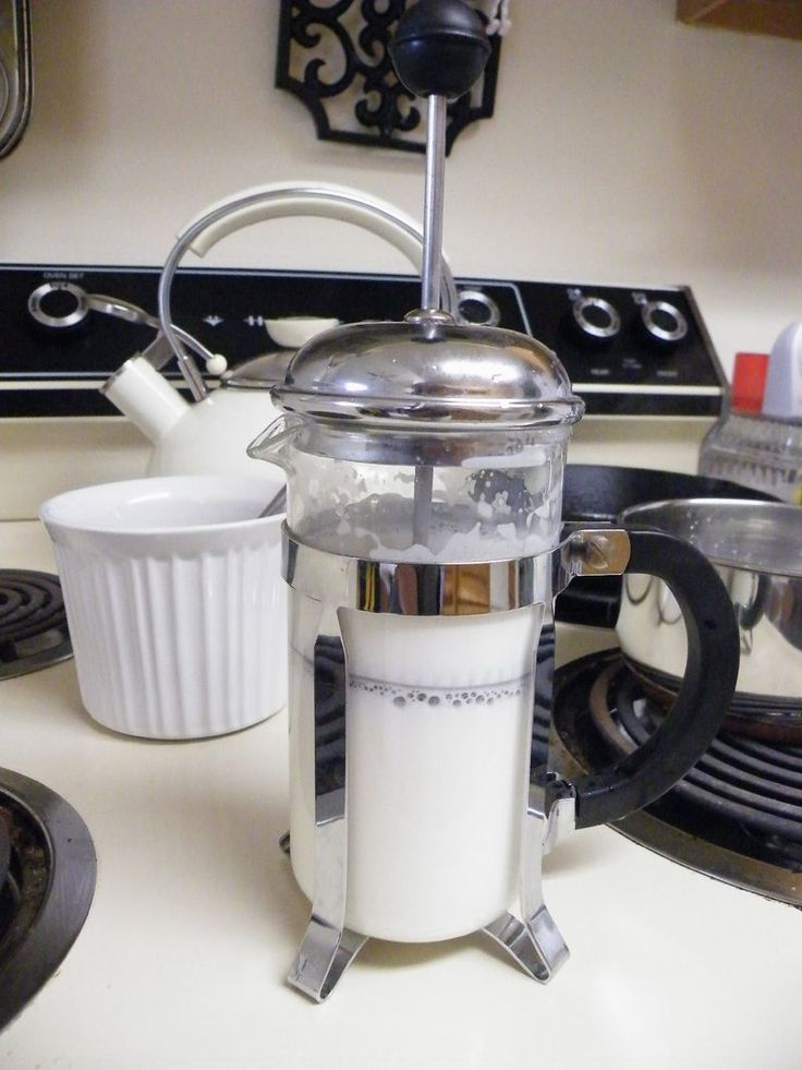 Use a french press to froth milk for coffee. Clever.