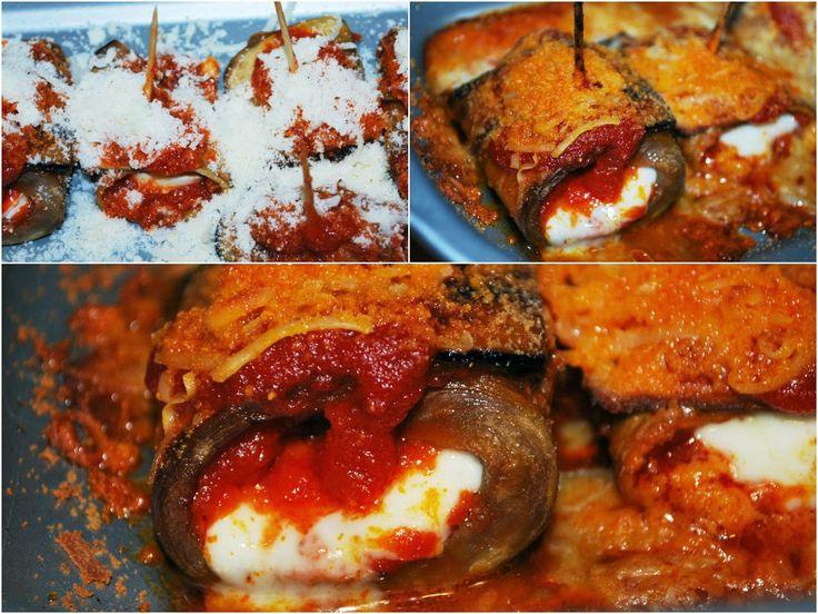 Porque me gusta lo fácil: Rollitos de berenjena al horno con queso mozzarella