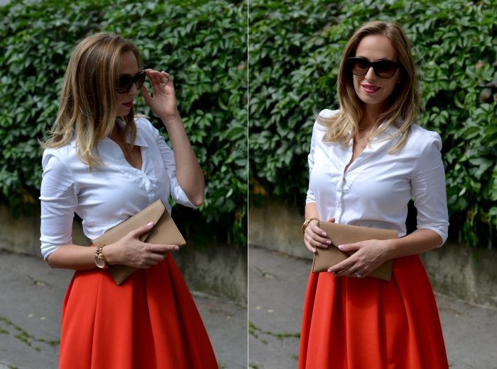 Red flared skirt, red heels, white shirt www.stylecookbook.cz