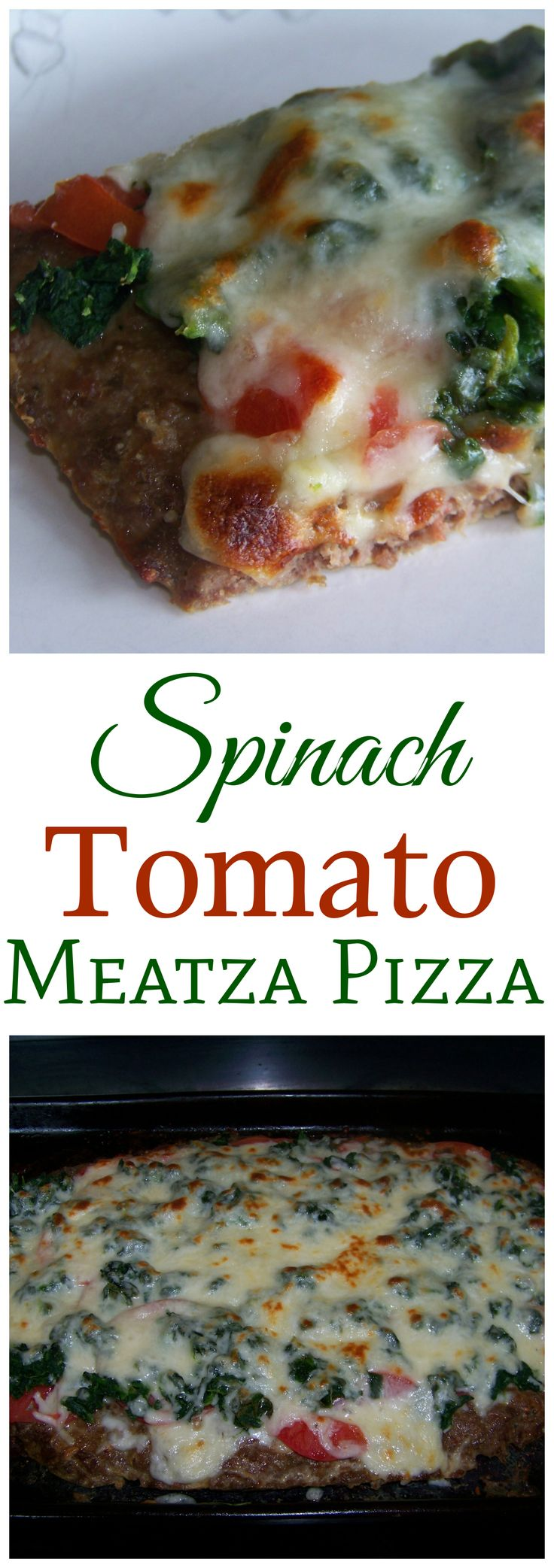 This low carb spinach tomato meatza pizza has a seasoned ground beef crust topped with tomato sauce and cheese. Customize this gluten free pizza with all your favorite toppings.