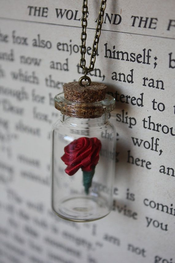 Beauty and the Beast Necklace Rose in a Vial by space pearls. beautiful. cut wedding gift idea for the bride
