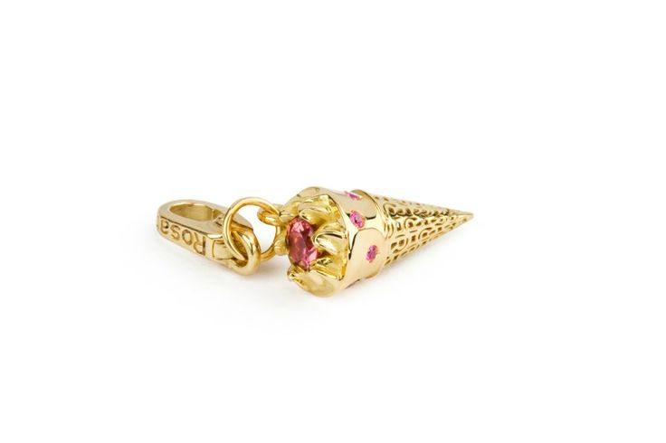 Rosato Gioielli. Yellow gold charm with pink sapphire and tourmaline