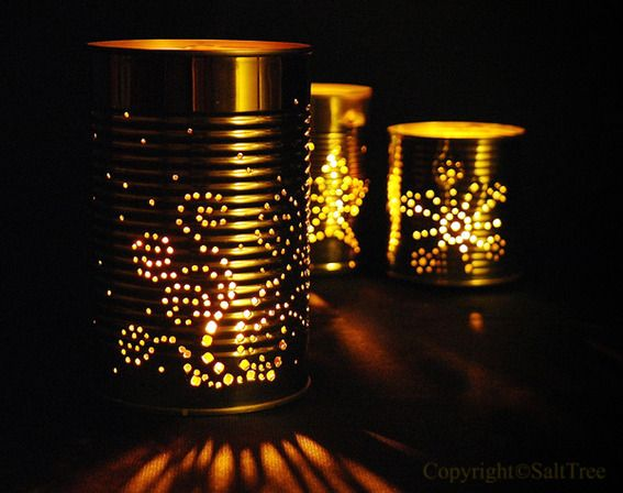 DIY Soup Can Luminaries... do any shapes, halloween, winter.....