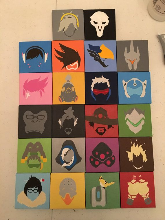 Made to order overwatch hero icon portrait mini canvas for Things to do with mini canvases