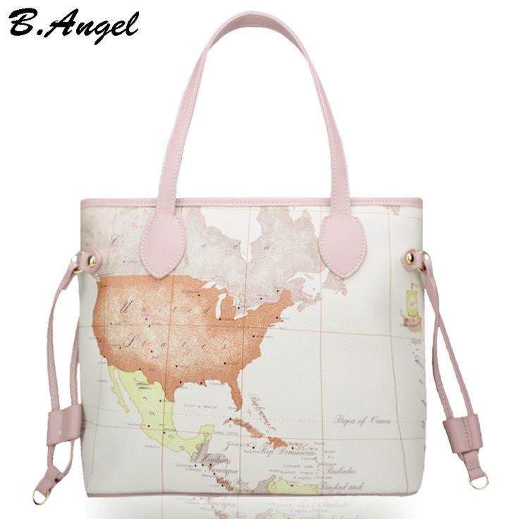 High quality world map women bag fashion big tote bag special handbag brand designer shoulder bag HC-W-29124