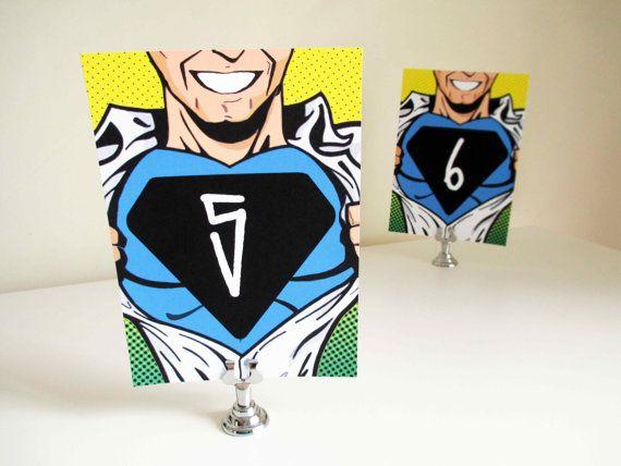 PRINTABLE Superhero Comic Wedding Table Numbers by VanillaRetro