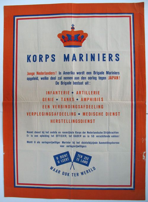 VINTAGE WW2 NETHERLANDS HOLLAND JAPAN WAR ARMY MARINES RECRUITMENT POSTER ART