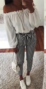 2018 new Autumn Black and White Casua Belt Striped Pants Women fashionrricdress – grace bomberger