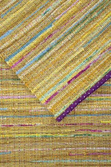 rag rug binding idea. I've used this method on numerous rag woven placemats and they hold up better over time than other methods.