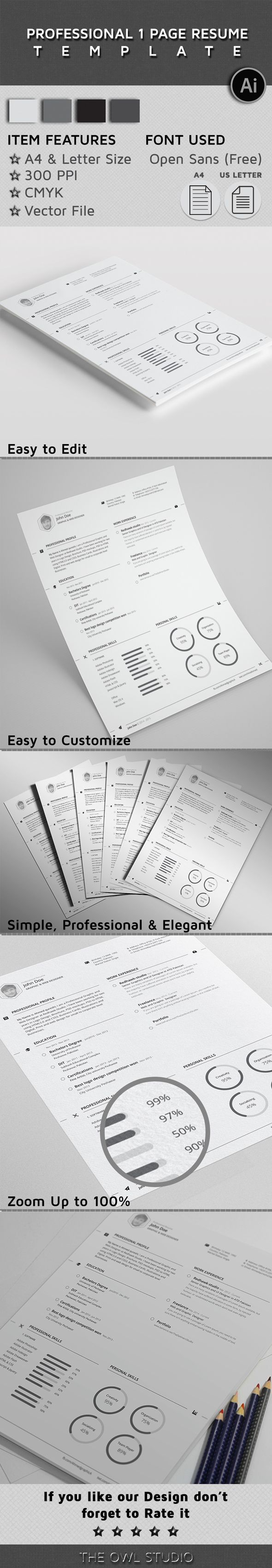 objective for finance resume%0A Free Professional One Page Resume Template on Behance   Education  Resume  Designs   Pinterest   Template and Behance