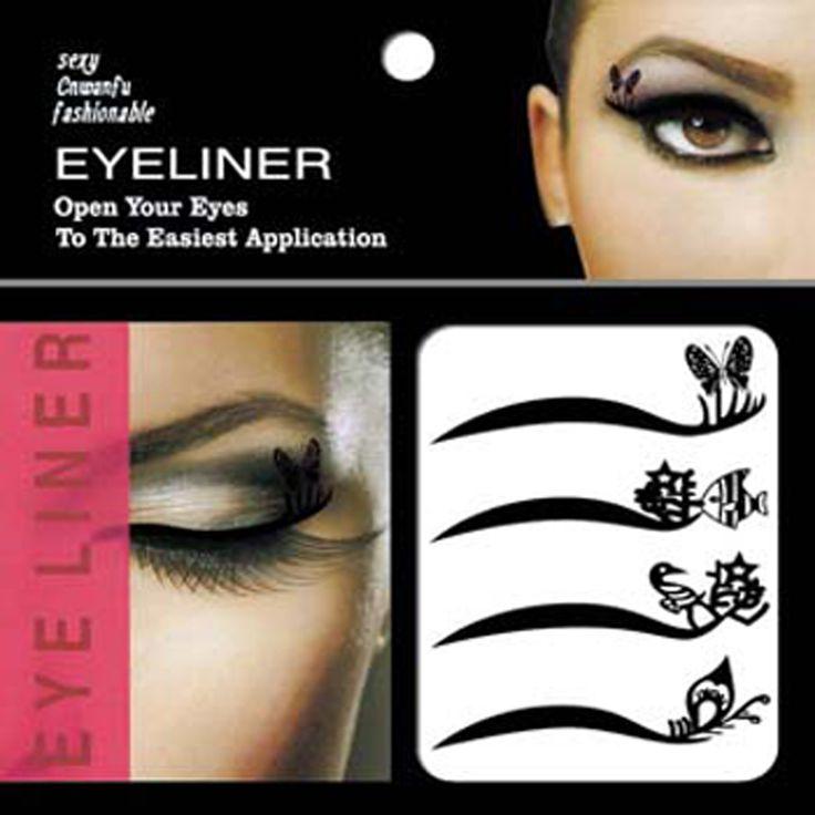 40Pairs Cat Eyes Design Waterproof Temporary Eyeliner Tattoo Black Eye Liner Eyeshadow Tattoo Sticker Makeup Tool