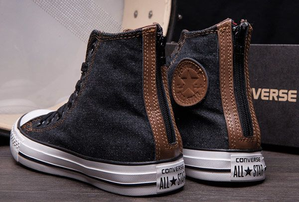 ad2b0dce7e09 Black High Tops Converse Back Zip Chuck Taylor All Star Canvas Shoes   converse  shoes