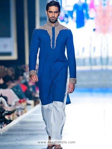 Cotton Shalwar Kameez for Men, Embroidered Collar, Shoulders, Front and Sleeves, Cobalt Blue
