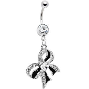 Crystalline Gem Black Tie Bow Dangle Belly Ring #piercing #Bodycandy #beauty