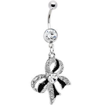 Crystalline Gem Black Tie Bow Dangle Belly Ring #piercing #Bodycandy #beauty