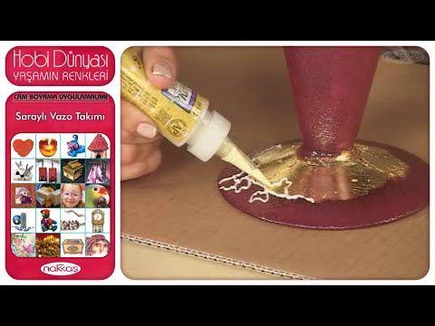 Cam Boyama Uygulamaları - Saraylı Vazo Takımı - YouTube