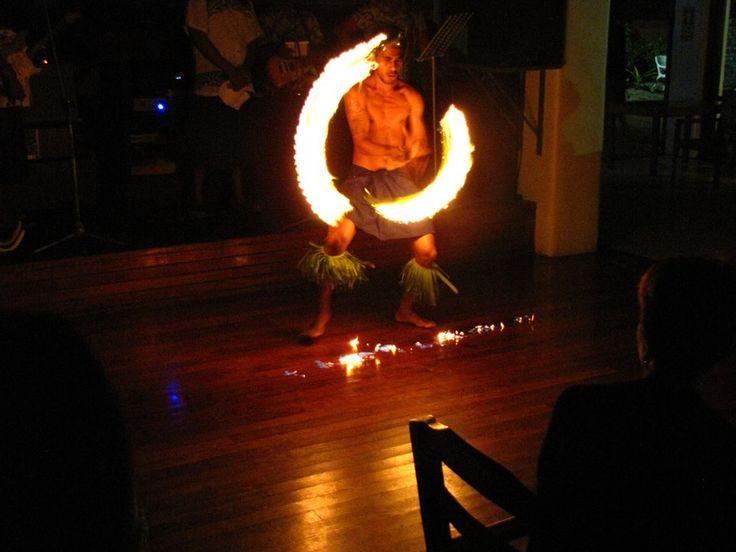 Great fire dancing entertainment — at Treasure Island Resort. #Sheena Bigalke