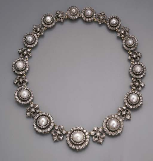 Designed as thirteen pearl and diamond circular clusters to the diamond fleur-de-lys spacers, clusters detach to form brooches or earrings, mounted in silver and gold, circa 1870, 41.8 cm. long, in Frazer & Haws blue velvet fitted case. Lady Guendolen Chaplin, and thence by decent. Lady Guendolen Talbot (d. 1937) was the second daughter of Charles, 19th Earl of Shrewsbury (1830-1877) and his wife Teresa (d. 1912).