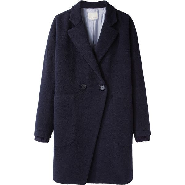 Boy by Band of Outsiders Drop Shoulder Coat (€940) ❤ liked on Polyvore featuring outerwear, coats, jackets, coats & jackets, manteaux, double-breasted coat, navy coat, band of outsiders coat, blue double breasted coat and blue coat
