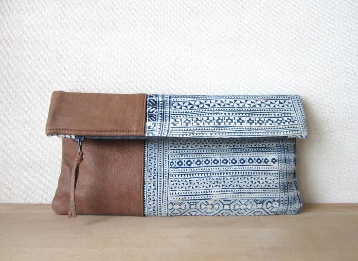 Fold Over Clutch Bag - Vintage Batik and Upcycled Leather. $30.00, via Etsy.